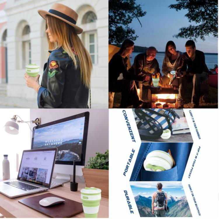 Muestra gratis Venta al por mayor personalizado portátil reutilizable plegable de silicona Copa