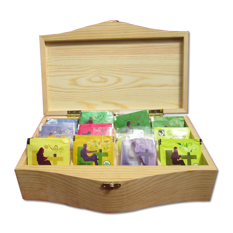 Custom European Natural Pine Wooden Tea Packaging Box with Slots