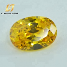 High quality factory direct synthetic middle golden sapphire gemstone bead yellow cubic zirconia