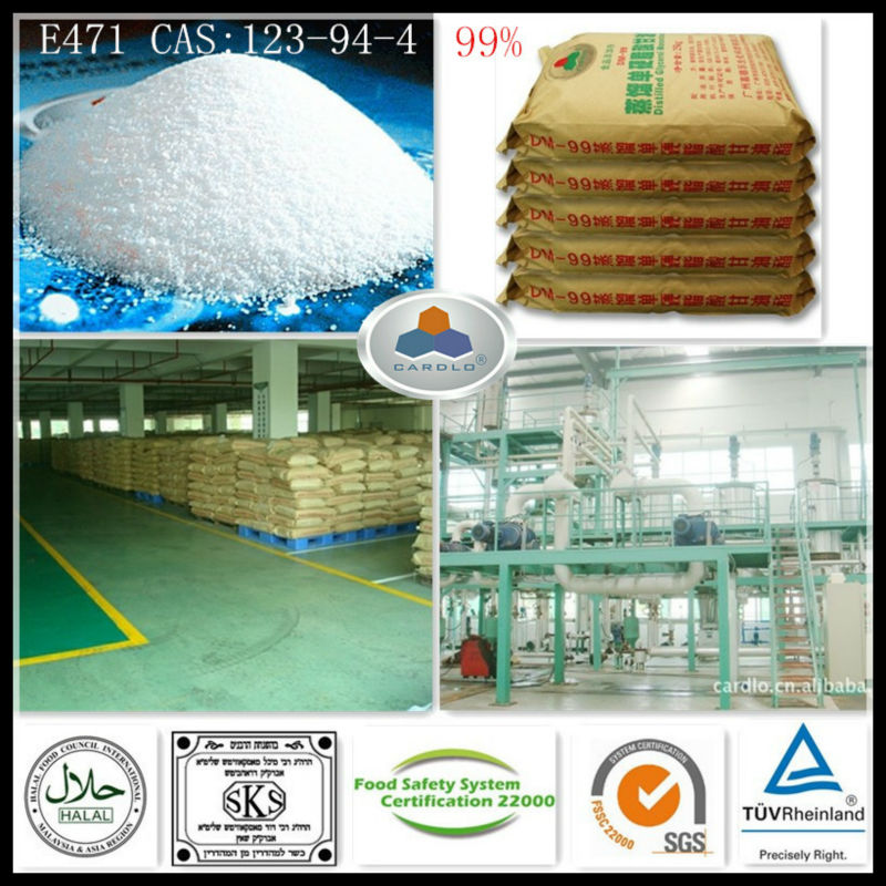 meat food ingredients E471 China Large Manufacturer CAS:123-94-4,C21H42O4,HLB:3.6-4.0, 99%GMS