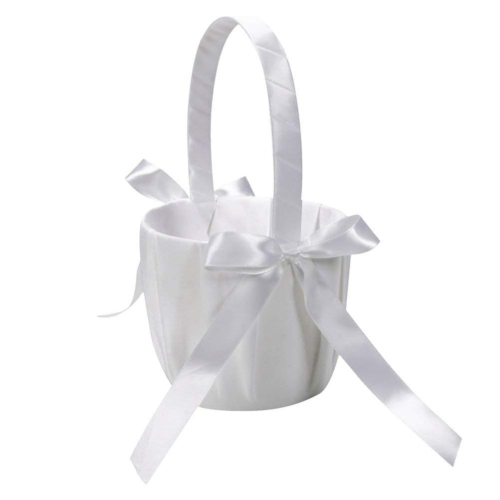 PIXNOR Satin Flower Girl Basket for Wedding Ceremony Party (Ivory)