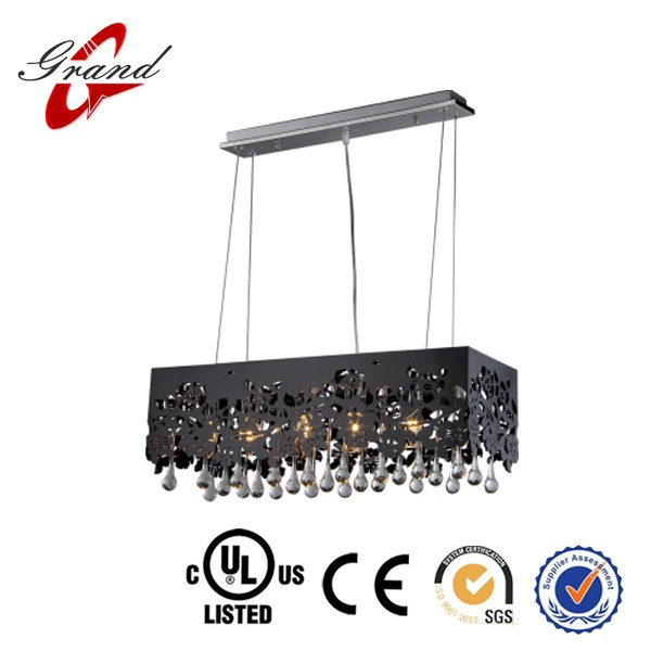 France romantic square pendant lamp for dining/black fabric lamp shade/crystal chandelier for home