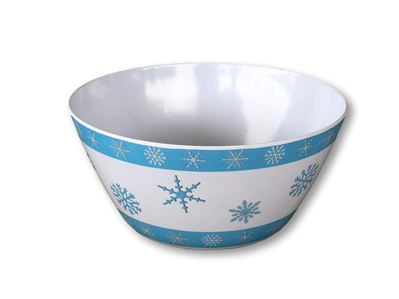 Snowflake Melamine Serving Platter 16 or Serving Bowl 10 White & Blue Round Winter Holiday Design Melamine (10 inch Melamine Serving Bowl)