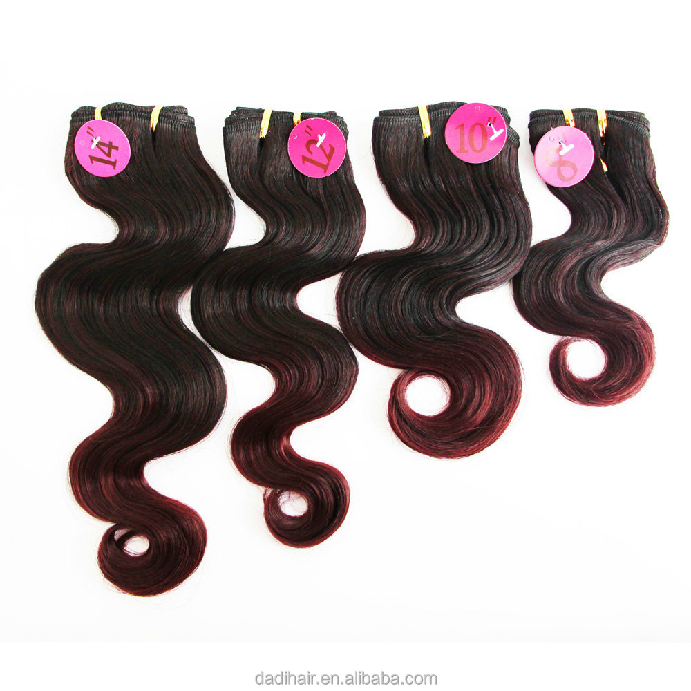 Cheap wholesale top quality Adorable QUTTRO INDIAN CURL 4pcs premium artifical hair weft,two tone body wave synthetic fiber hair