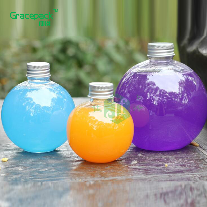 Supplier food grade BPA free metal/aluminium cap empty juice ball bottles 250ml soft drinking PET plastic bottle