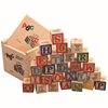 Wooden educational ABC blocks building cube