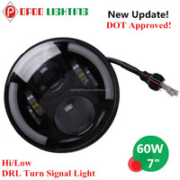 "Top New Hi/Low DRL Turn Signal Light 7"" Led Headlight for Dodge Jeep"