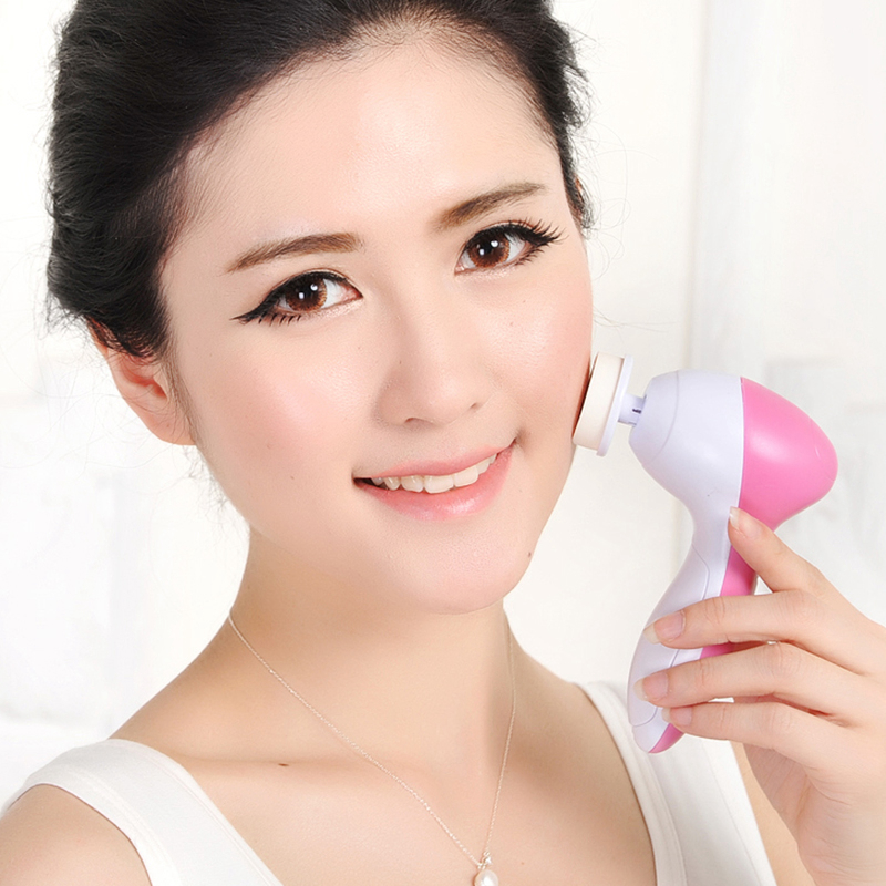 Facial Cleansing Brush and Massager with 5 Brush Heads for Deep Cleansing, Exfoliating, Removing Blackhead and Massaging