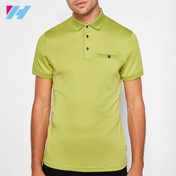 Imbued With A Relaxed Yet Refined Flat Knit Collar Cotton Mens Polo Shirt With Short Sleeved And Chest Pocket