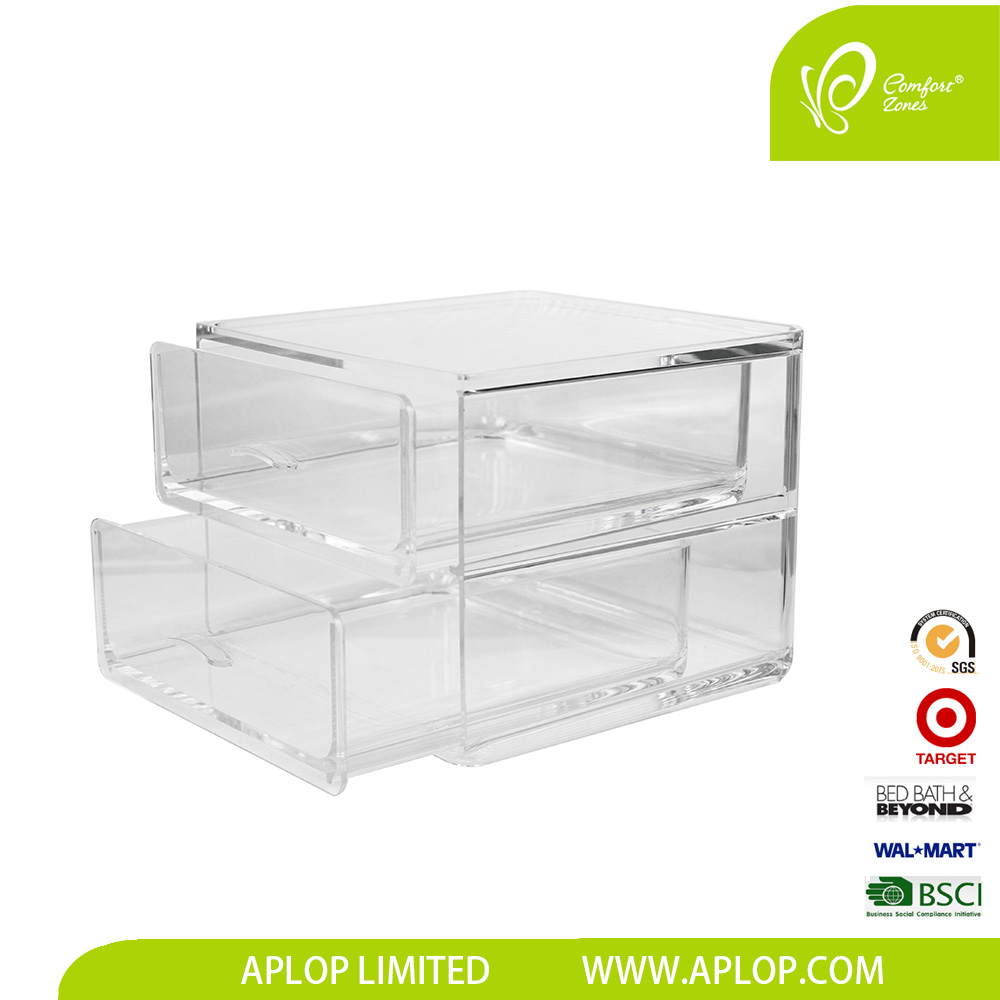 Plastic 2 Drawers Acrylic Clear Makeup Organizer Cosmetic Jewelry tray