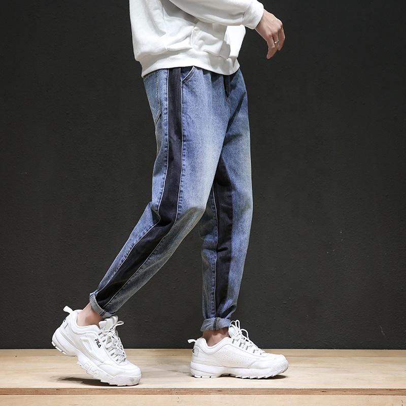 4e4950b8a3e87 Модные дешевые узкие джинсы оптом Промытые Синие узкие мужские джинсы 2019