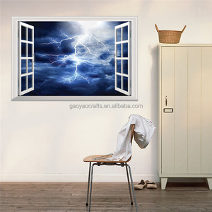 New 3D Dark Cloud Lightning Window Sticker Bedroom Bedside Sofa TV Background Wall Decorative Mural PVC Wall Stickers