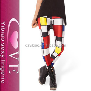 Sexy Lingerie Dropship Paypal Accepted Latex Candy Color Leggings Mondrian Printed Legging