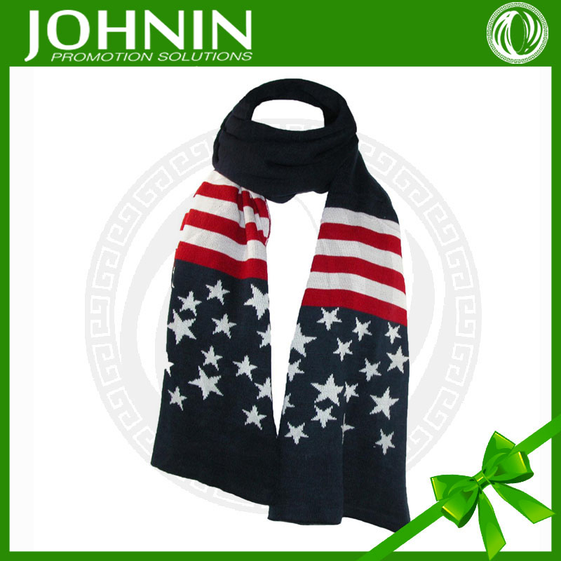 Wholesale fashion hot sale long american flag knitted scarf