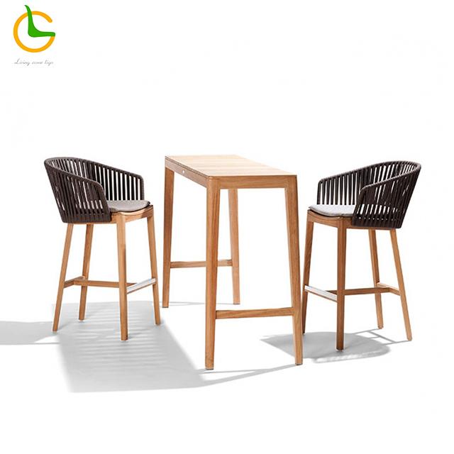 Foshan supplier high quality luxury comfortable teak wood 5 star hotel outdoor garden salon dining high bar stool chair
