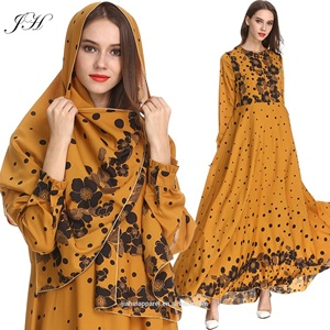 2019 Latest Design Kaftan Abaya Jilbab Islamic Clothing Floral Dot Printed Long Sleeve Vintage Maxi Muslim Dress with Hijab