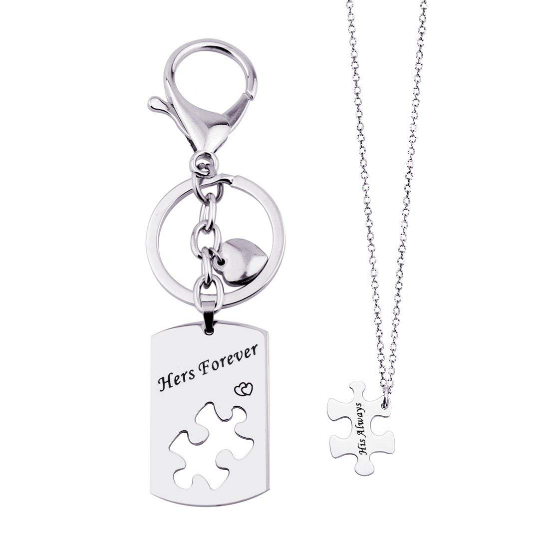 2719aefe07 Get Quotations · His Always Hers Forever Puzzle Piece Necklaces Keychain  Set for Couples Valentine's Day Gift