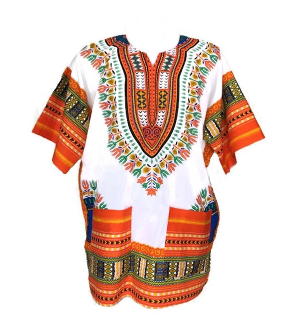 cfef7c74c7612 Vipada Handmade Men Dashiki Shirt African Caftan White and Orange New