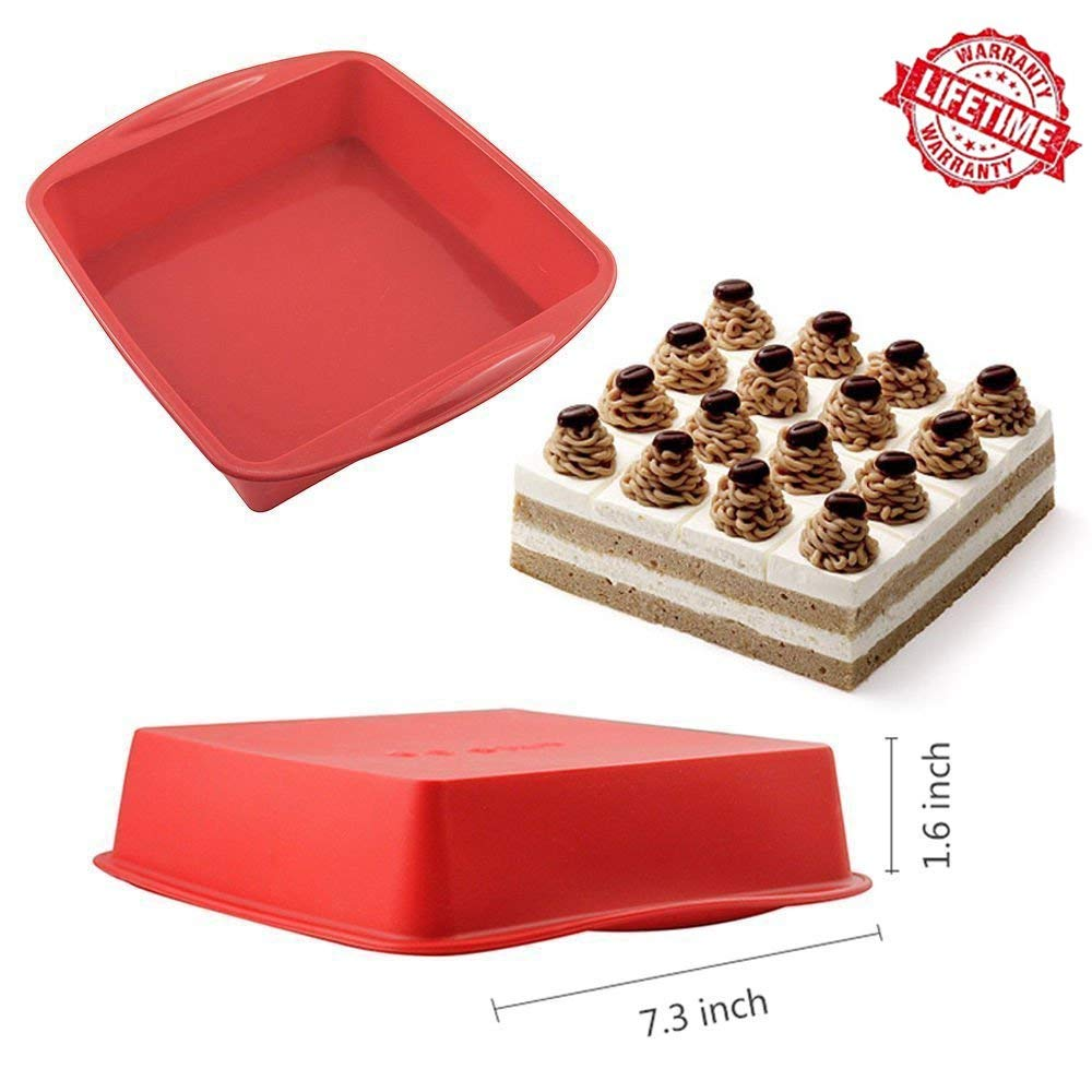 IC ICLOVER Food Grade Silicone Cake Mold Pasta Pan, Baking Pan, Bakeware Food Grade Silicone Square Bread Cake Mold Baking Pan-Red