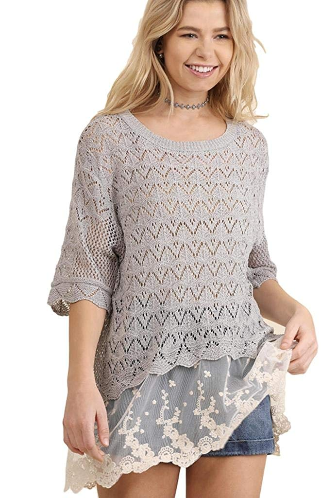d9b20dc59e3a08 Get Quotations · Umgee Women s Lightweight Crochet Knit Sweater With Lace  Hem Back Slit and Elbow Length Sleeves