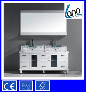 56 inch modern double sink bathroom vanity in white finish with tempered glass