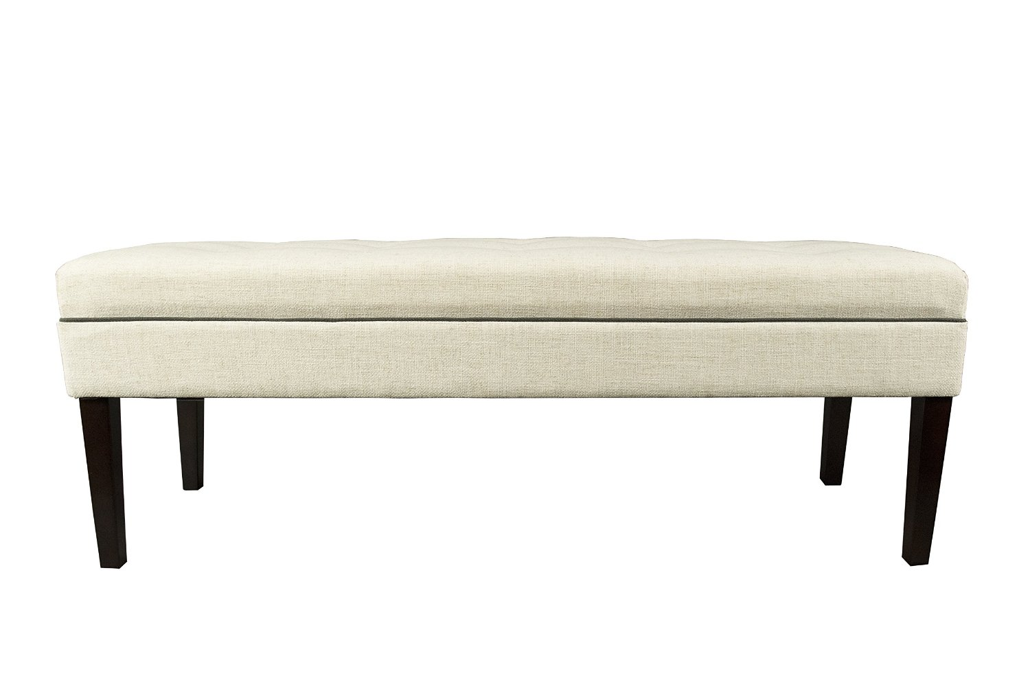 MJL Furniture Designs Kaya Collection Upholstered and Padded Button Tufted Accent Bedroom Bench, Loft Series, Magnolia