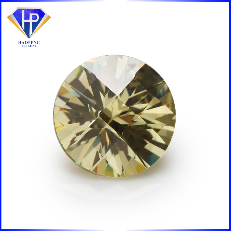 Factory Wholesale Loose AAAAA Grade 8.0mm Yellow Round Checker Board cut Cubic Zirconia #HP1022