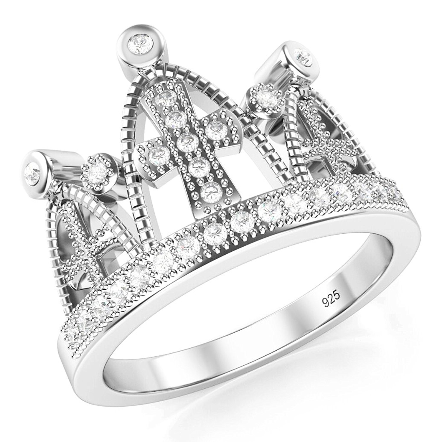 a3ddd6f70 Get Quotations · 925 Sterling Silver Cubic Zirconia Princess Cross Crown  Tiara CZ Band Ring