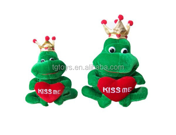 New design plush stuffed Prince frog with crown and a red heart embroidering Kiss me toys