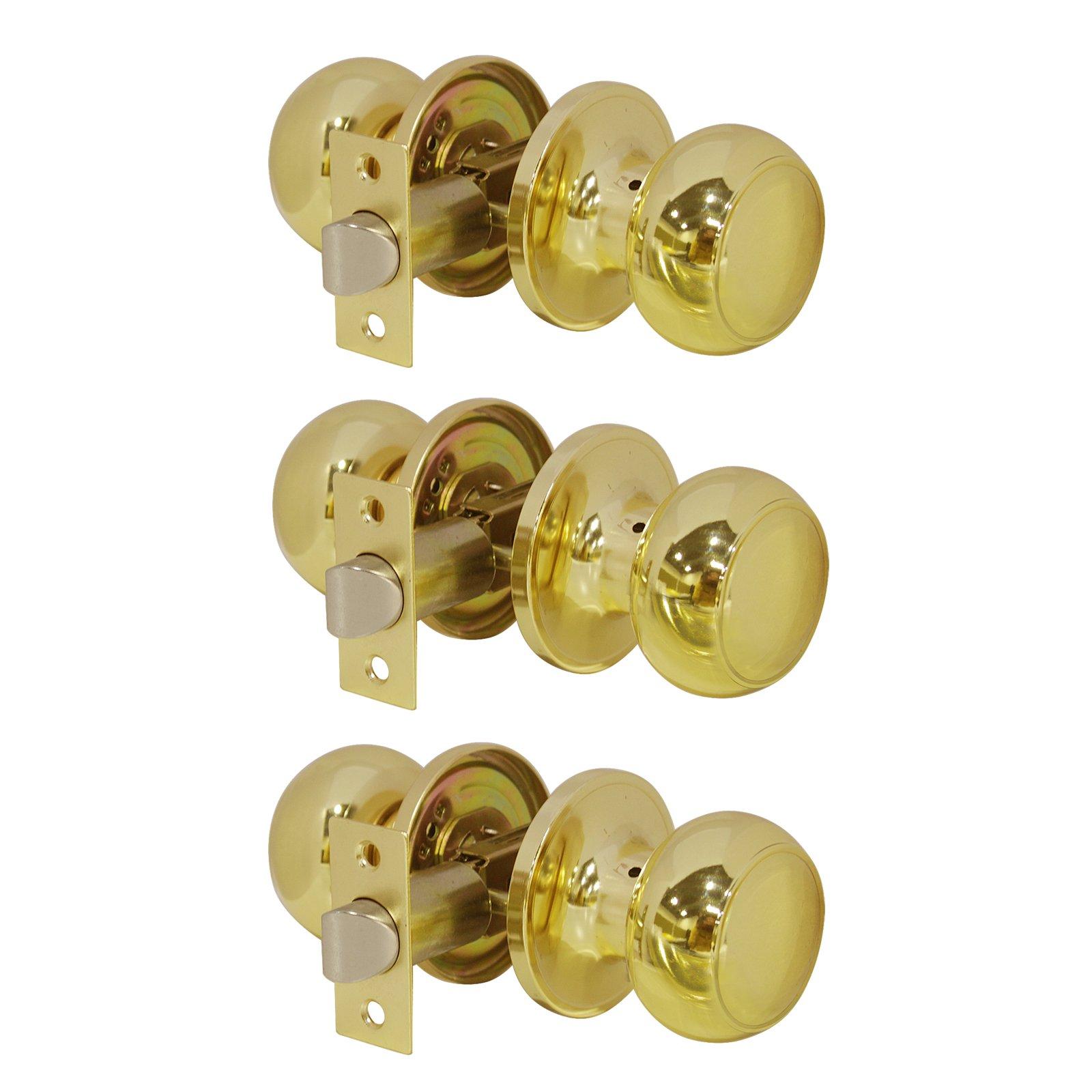 Probrico Entrance Door Knobs Door Lock Keyed Alike Lockset Polished Brass Same Key Round Ball Entry Door Knobs Pack of 3