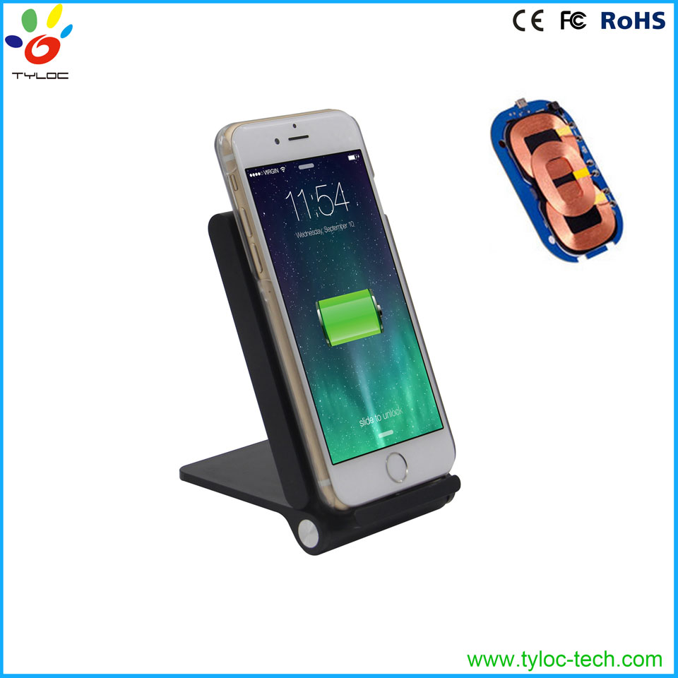 2016 factory high quality electromagnetic induction type 3 coil qi wireless charger for mobile phone