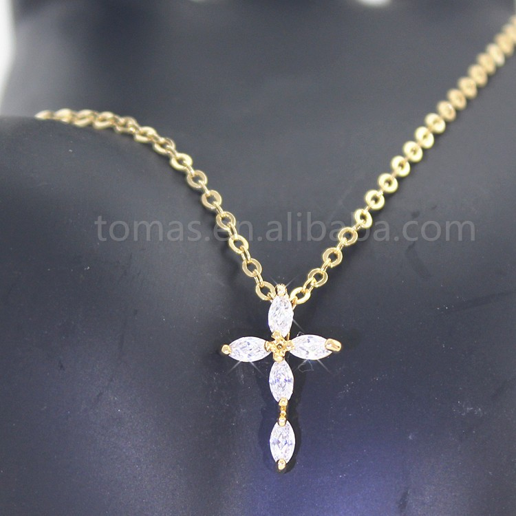 Latest design unique handmade crystal gold cross chunky necklace