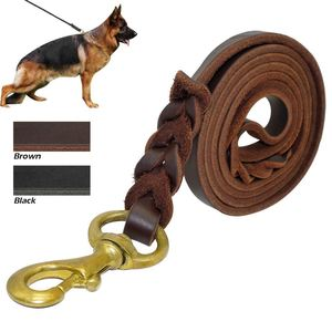 Braided Genuine Leather Dog Leash K9 Walking Training Leads