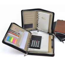 Customized Business zipper bag with loose-leaf notebooks and calculator notepad manager clip/portfolio