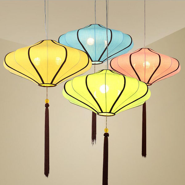 Hanging Lighted Chinese Fabric Lanterns