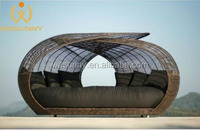 Fashion Style Rattan Round Outdoor Beach Lounge Bed