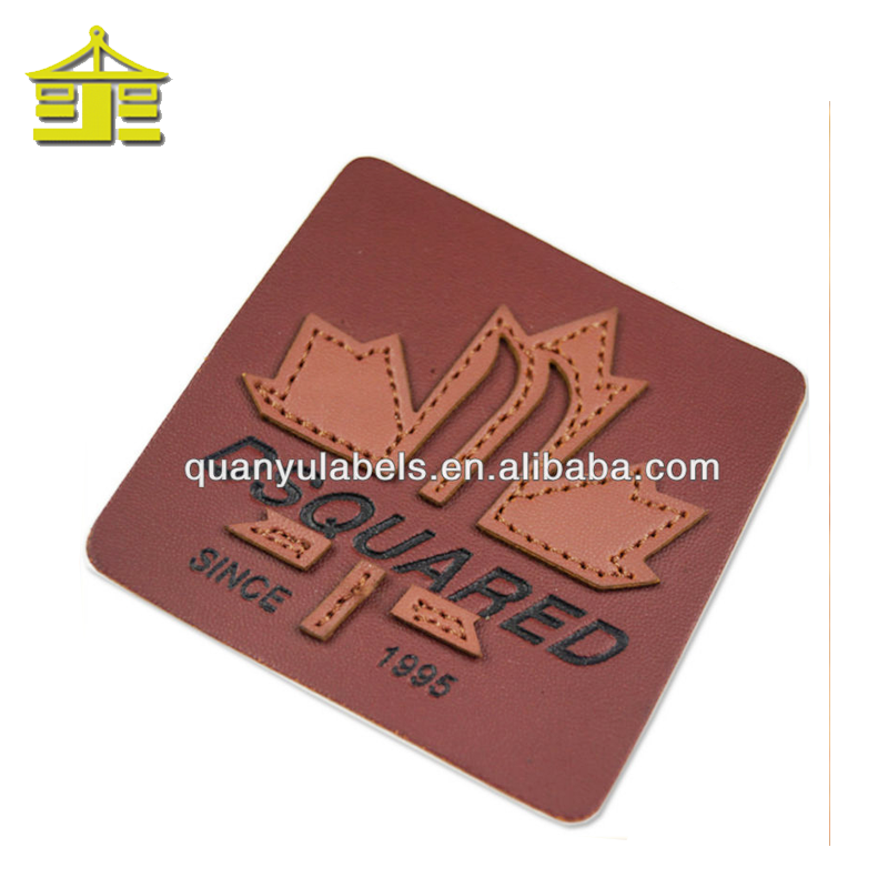 Custom embossed printing t shirt clothing garment custom clothes patch jeans leather label for jeans