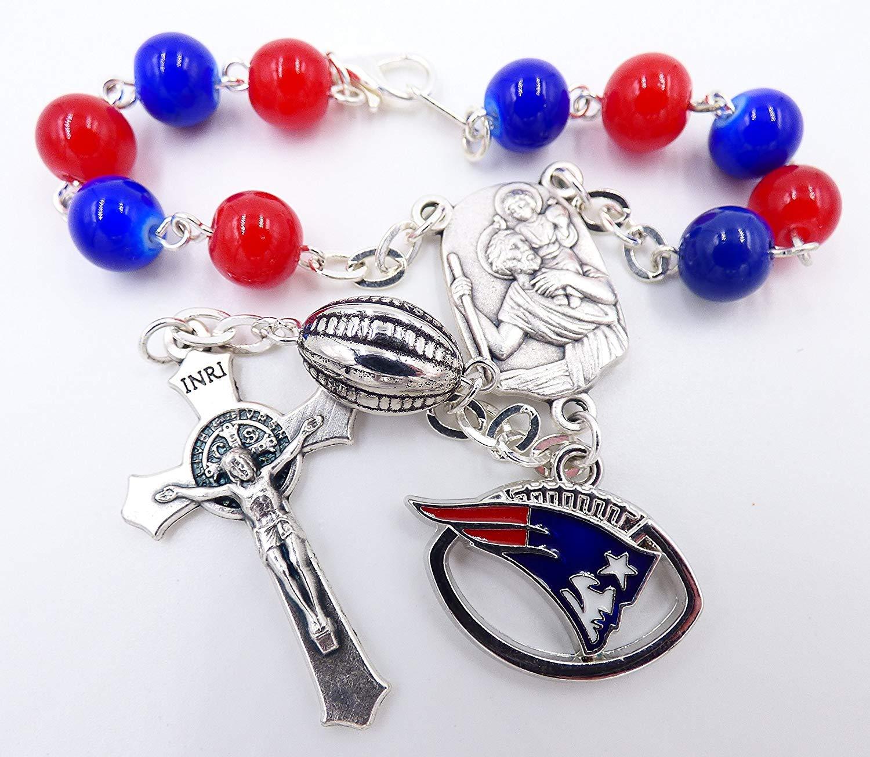 Single Decade St. Christopher Sports Team Auto Rosary - New England Pro Football Catholic Rosary Beads