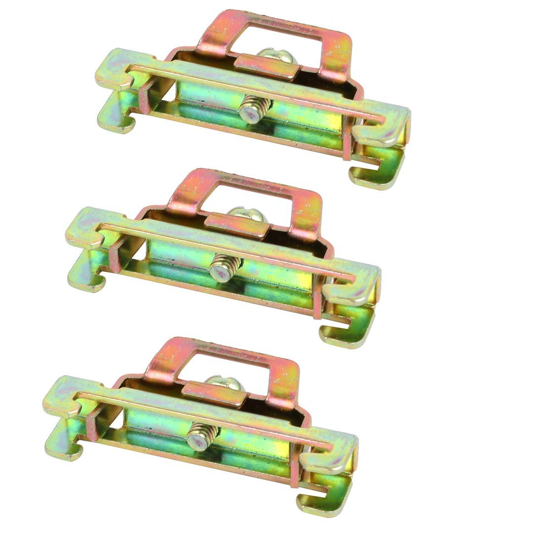 uxcell 3 Pcs 35mm Width BNL6 DIN Guide Rail Buckle Fixed Clamp Bronze Tone 44x8x22mm