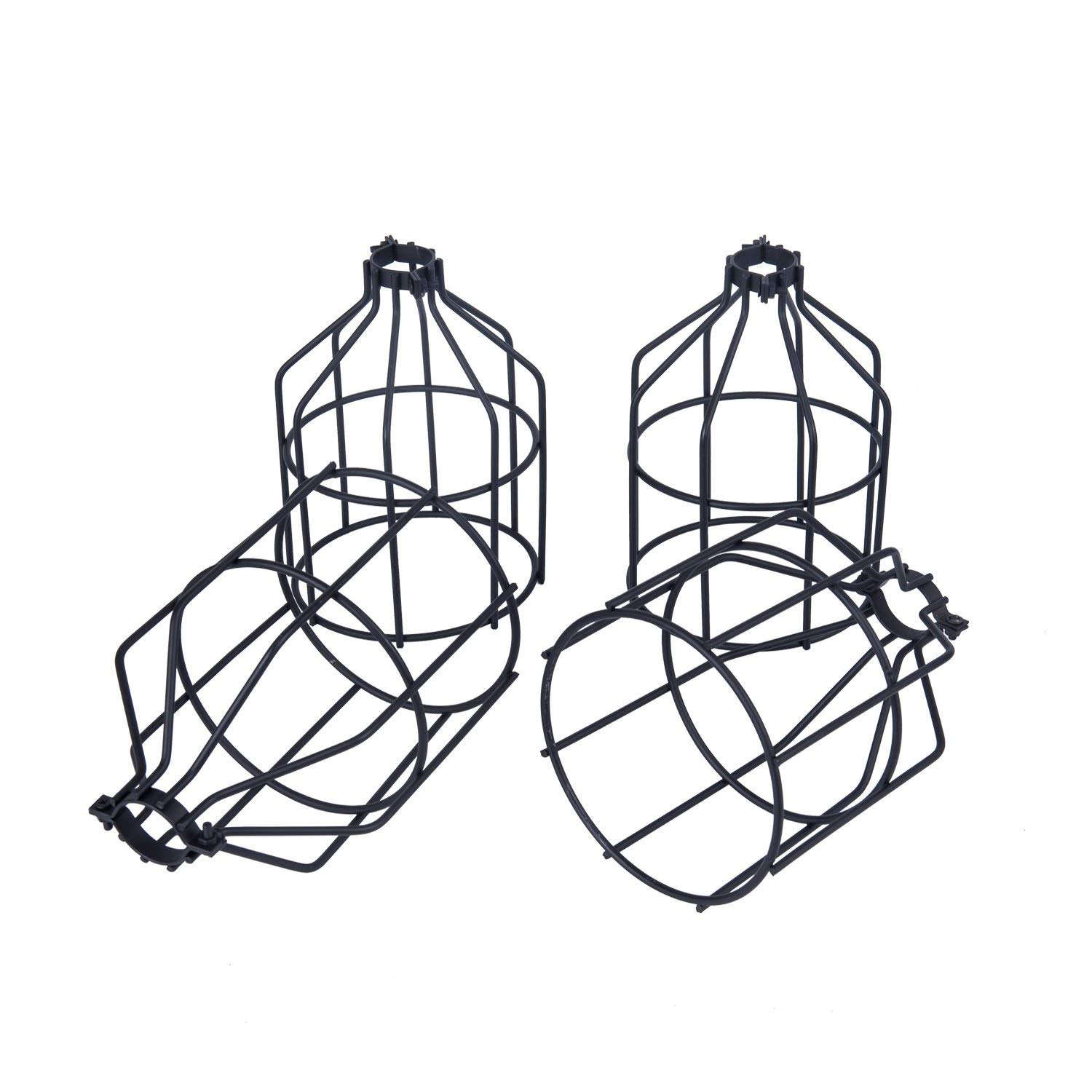 YaQi Lighting 4-Pack Metal Light Bulb Guard, Open Style Black Industrial Wire Cage, Clamp On Steel Lampshade for Ceiling Fan Lights & Vintage Lamp Holders