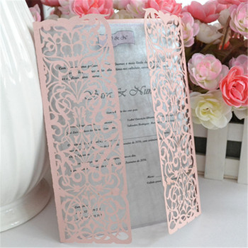 Laser Cut Wedding Invitations Personalised Romantic Lace Pink Folded Elegant Invitation Cards