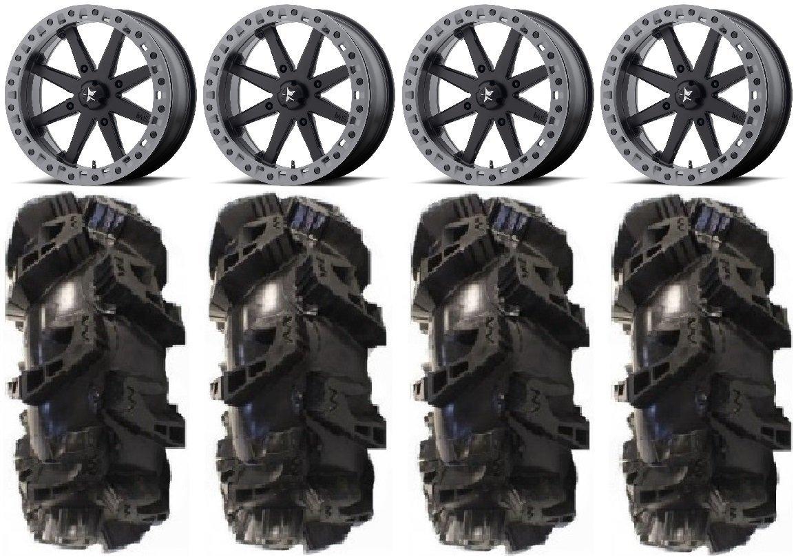 "Bundle - 9 Items: MSA Lok2 Beadlock 18"" ATV Wheels 36"" Silverback MT2 Tires [4x137 Bolt Pattern 10mmx1.25 Lug Kit]"