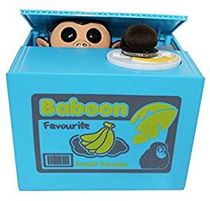 Virtuous Cute Stealing Money Box Coin Bank/Cool Gadgets Electronic Monkey - Novelty Toys Plastic Saving Piggy Bank for Girls and Boys or for Kids and Adults , Sweet Monkey