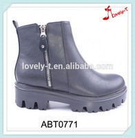 Casual style fashion lady high cheap work anti-slip platform ankle boots with zippers