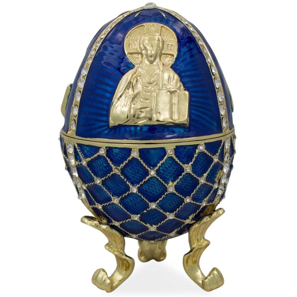 "4"" Jesus Christ Icon Enameled Faberge Inspired Easter Egg"