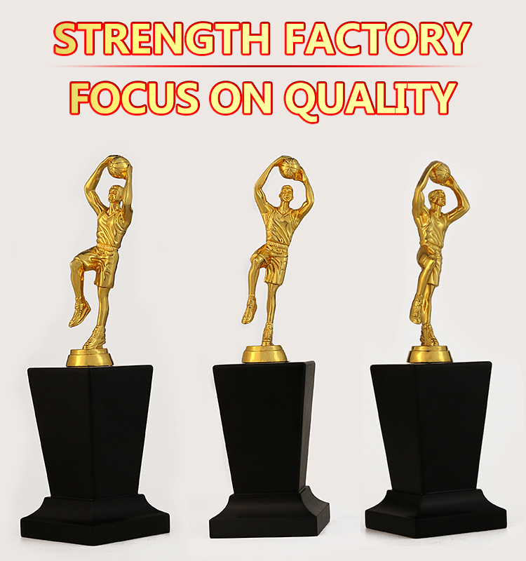 China Manufacture cheap wholesale custom gold plated Irregular Shape metal award prize basketball sport trophy