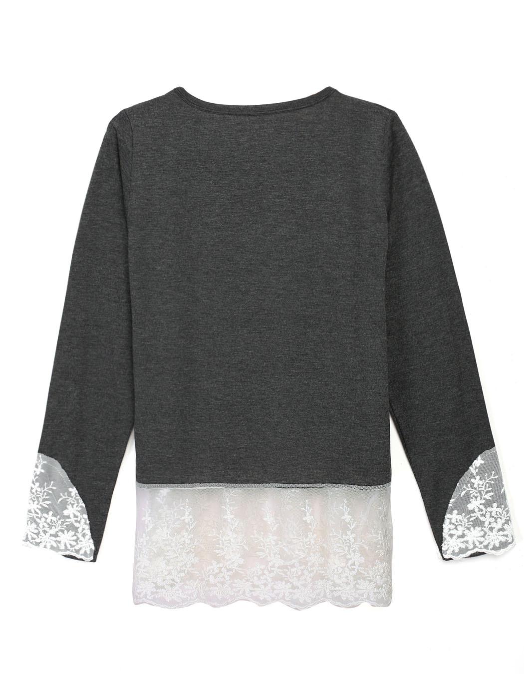 Camisetas продвижение регулярный твердые Tshirt Aliexpress 2015 новых европейских зимних кружева подшивание шея рукавами футболка для женщин
