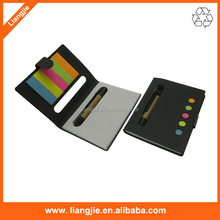 Combined sticky notepads ,eco ballpen with soft paper cover mini notebook