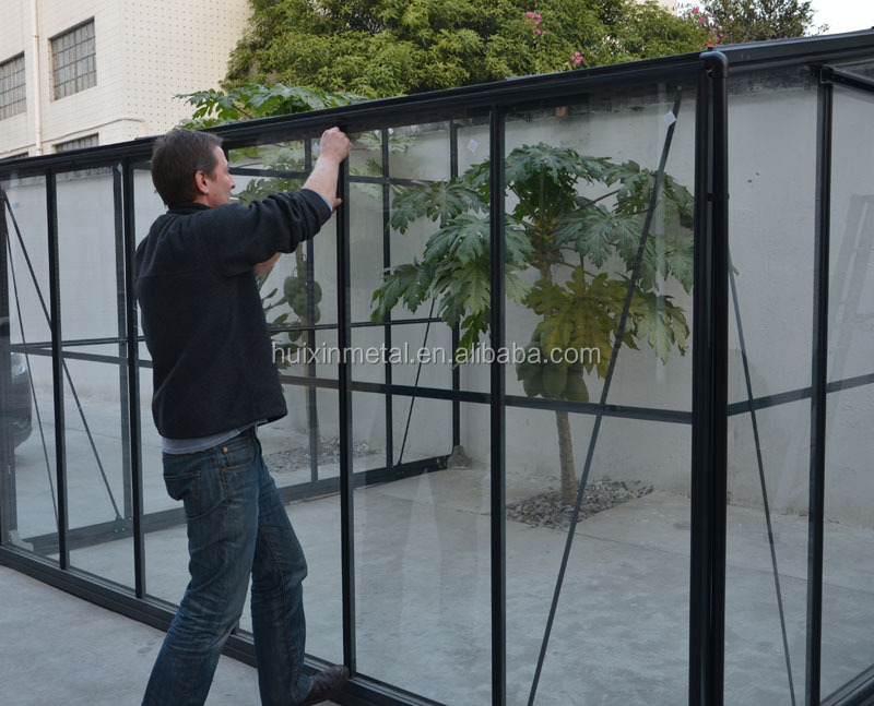 aluminium frame deluxe glass greenhouse with sloping walls HX97103L