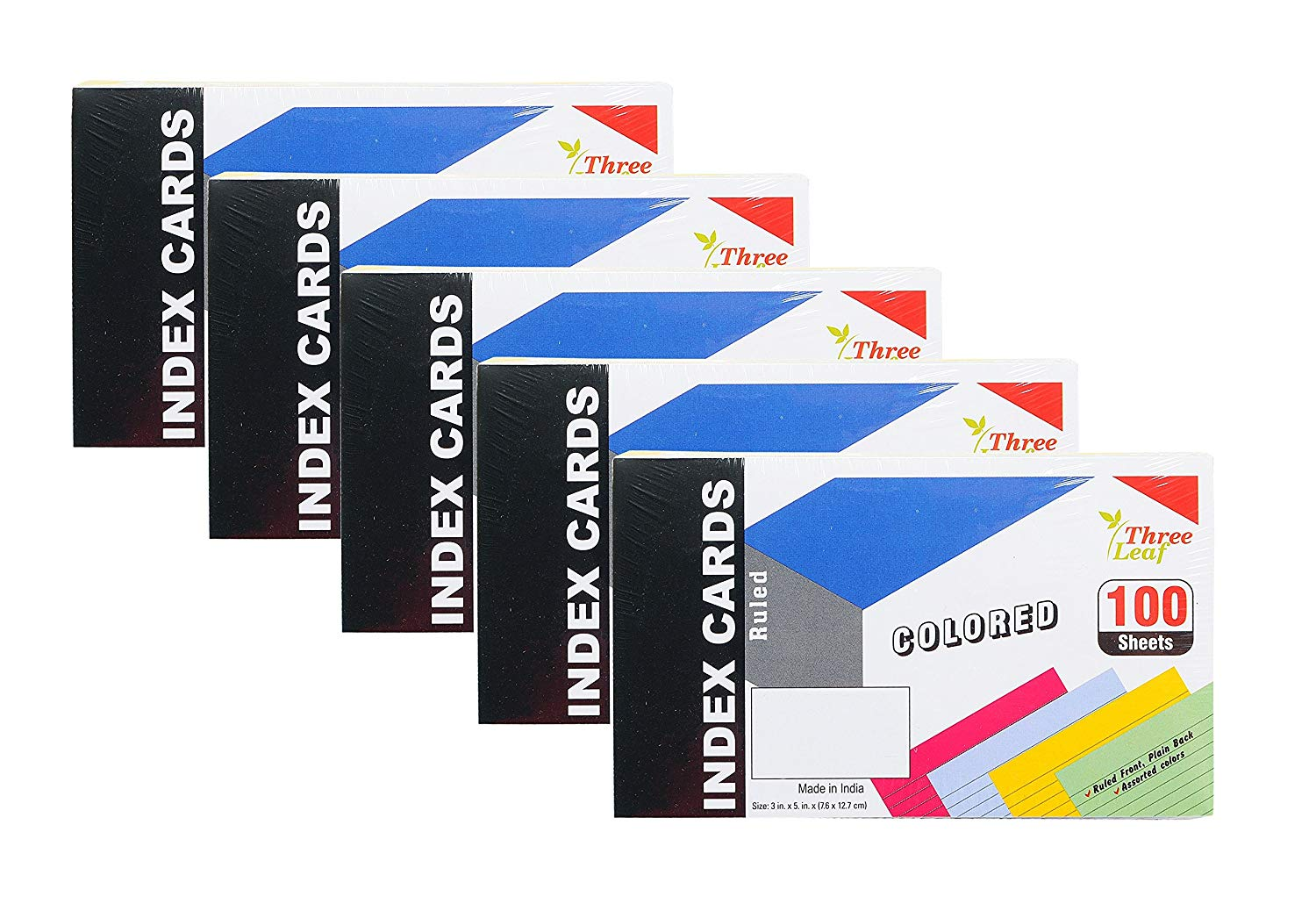 5-Pack Colored Index Cards, 3x5-Inch, Ruled, Canary-Cherry-Green-Blue, 25 of Each Color in Packs of 100. (5 Packs of 100)